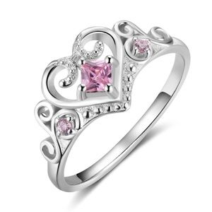 Jewelry - ARRIVED! Princess Heart Ring with Pink CZ